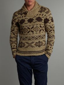 Nordic print shawl neck jumper