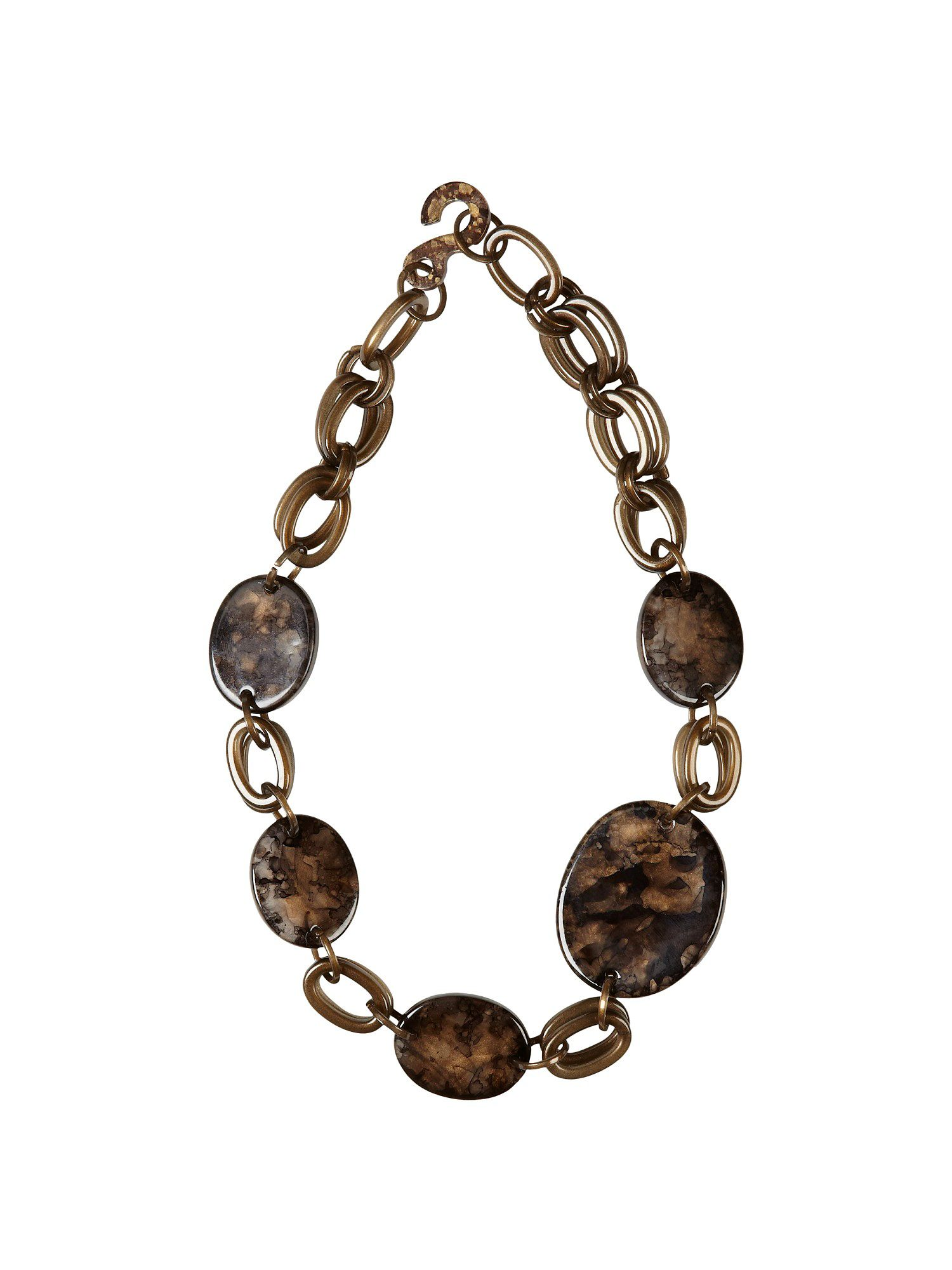 Jacques Vert Mottled disc necklace, Brown