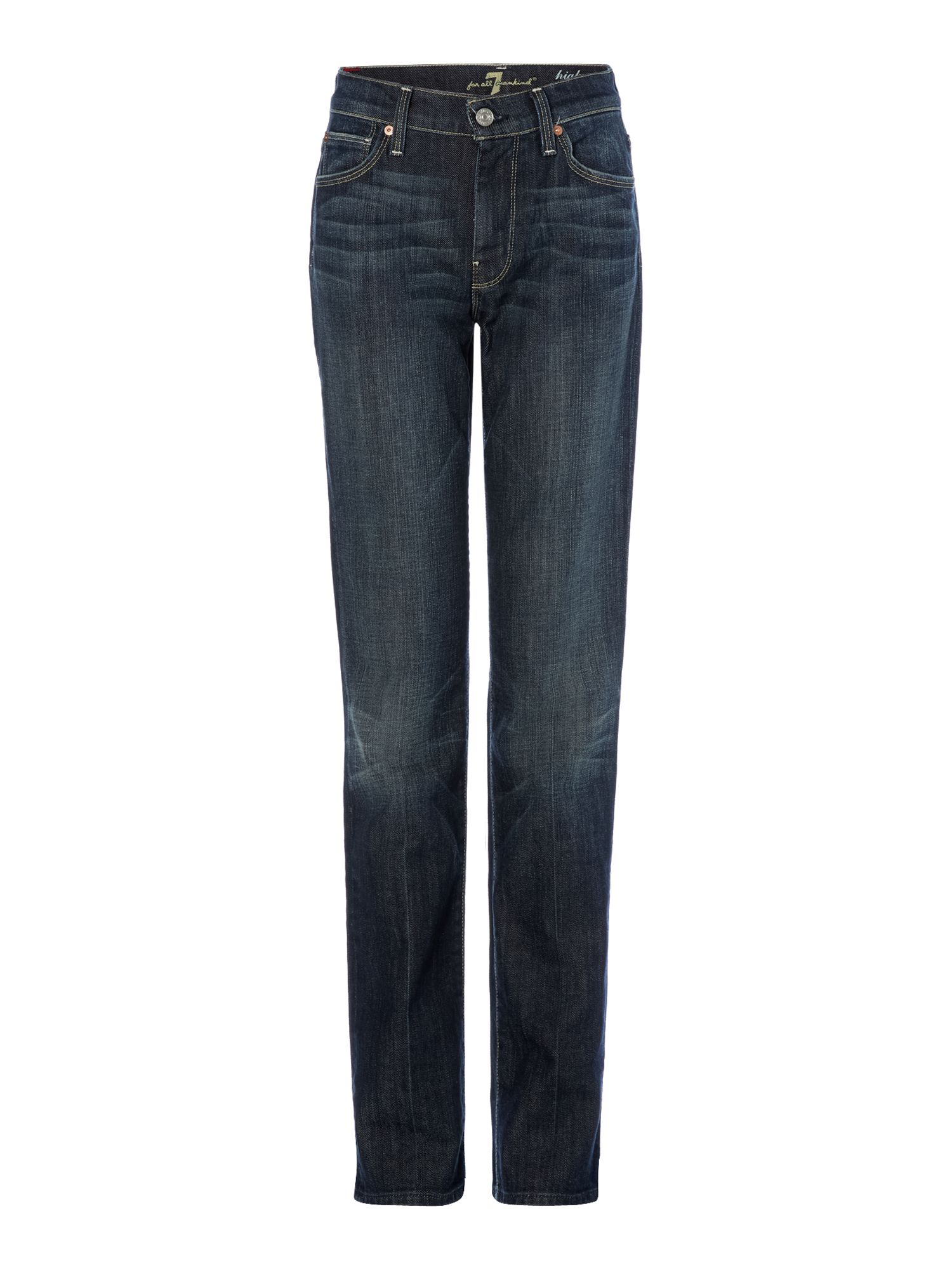 7 For All Mankind 7 For All Mankind High-waist straight leg jeans in New York Dark, Denim Mid Wash