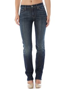 7 For All Mankind High-waist straight leg jeans in New York Dark