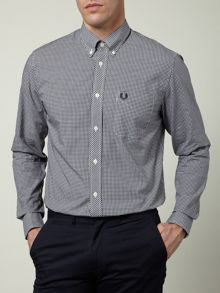 Long-sleeved gingham shirt