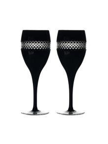 John rocha black cut red wine glass, set of 2