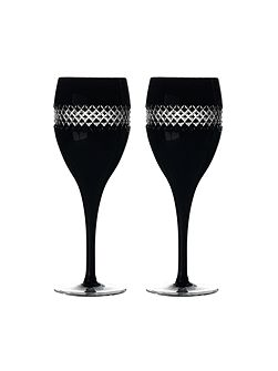 John rocha black cut red wine glass, set