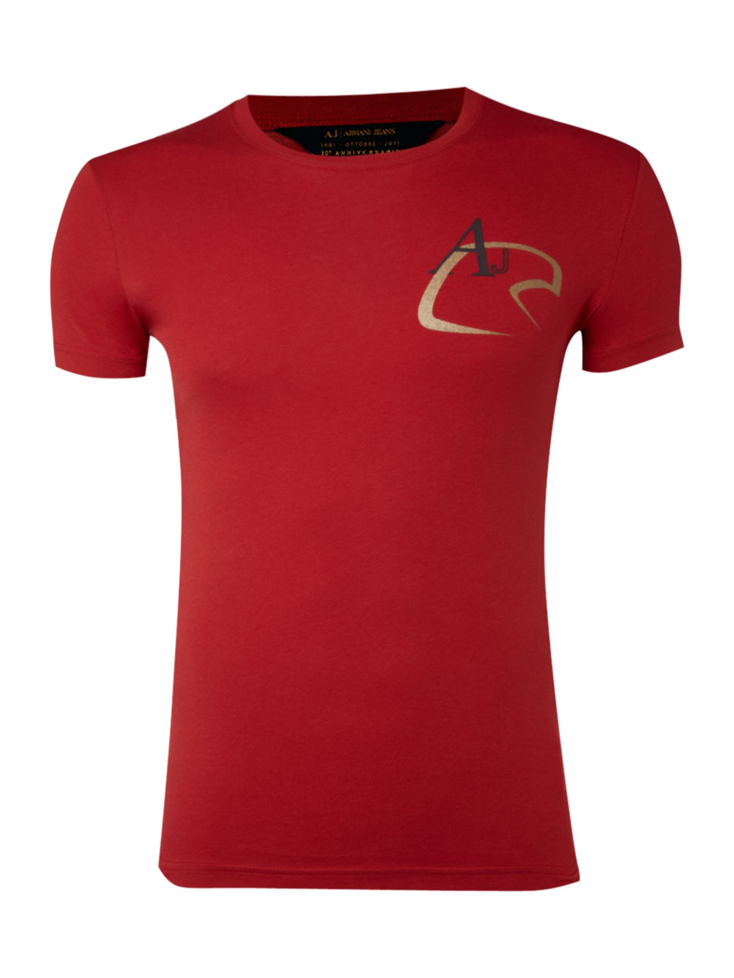 Armani Jeans Mens Armani Jeans Eagle logo T-shirt, Red product image