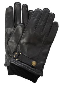 Dents Mens leather glove with cuff detail