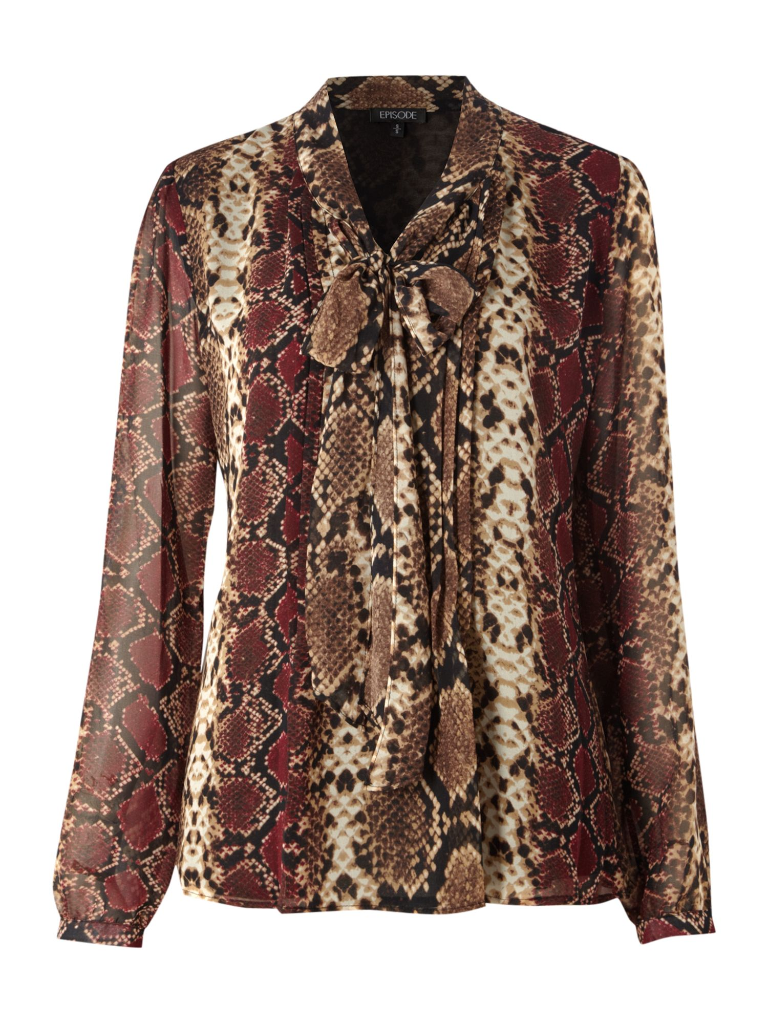 Episode Womens Episode Snake print tie neck blouse, product image