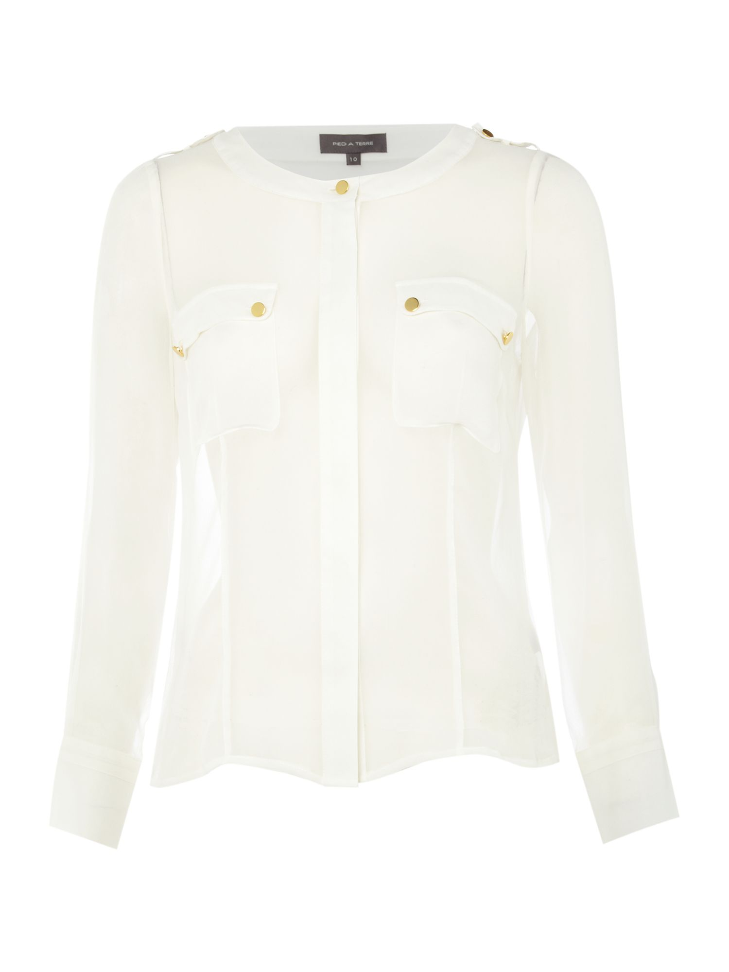 Pied a Terre Womens Pied a Terre Utility Blouse, White product image