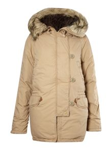Parka with faux fur lined hood