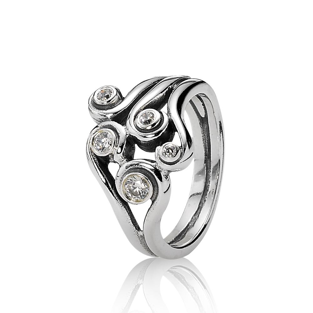 Clear Zirconia Swirl Ring