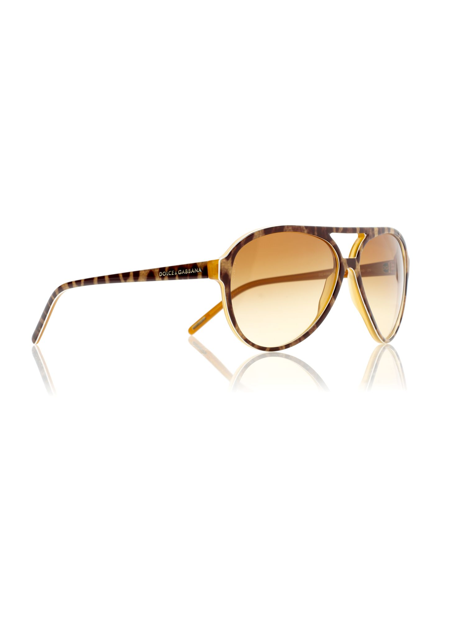 Ladies DG4099 Animal Print Aviator Sunglasses