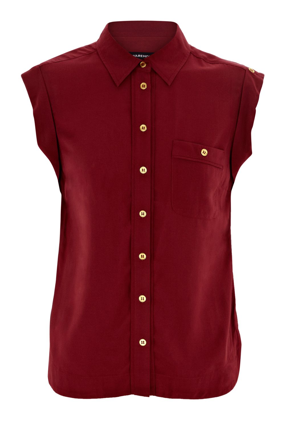 Warehouse Womens Warehouse Roll-sleeve blouse, Red product image