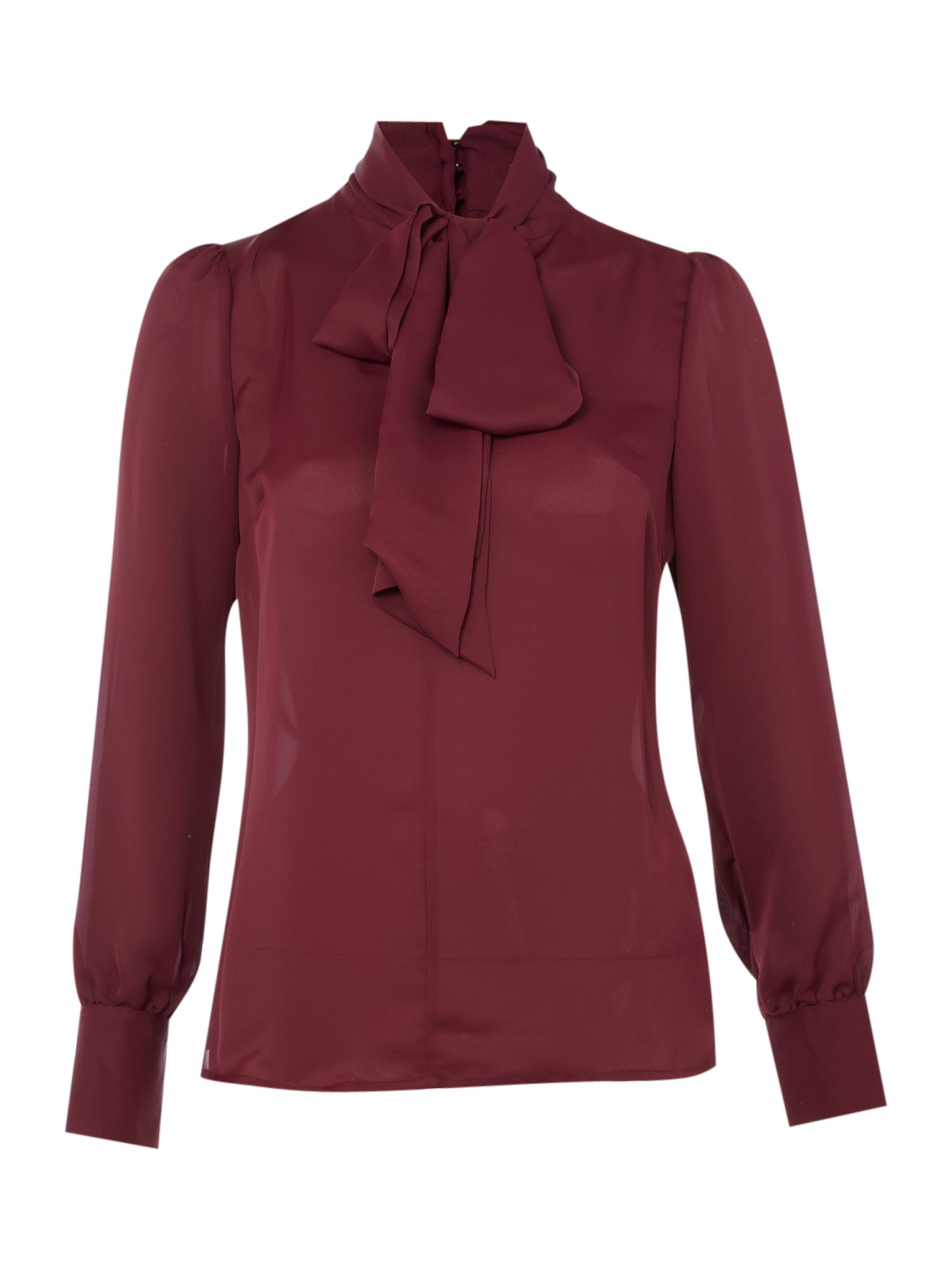 Womens Pied a Terre Pussy bow blouse, Grape