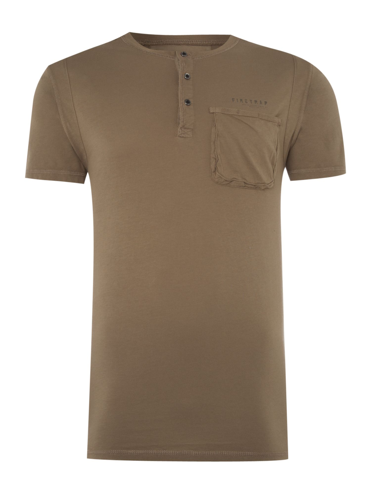 Firetrap Mens Firetrap 1 Pocket T-shirt, Khaki