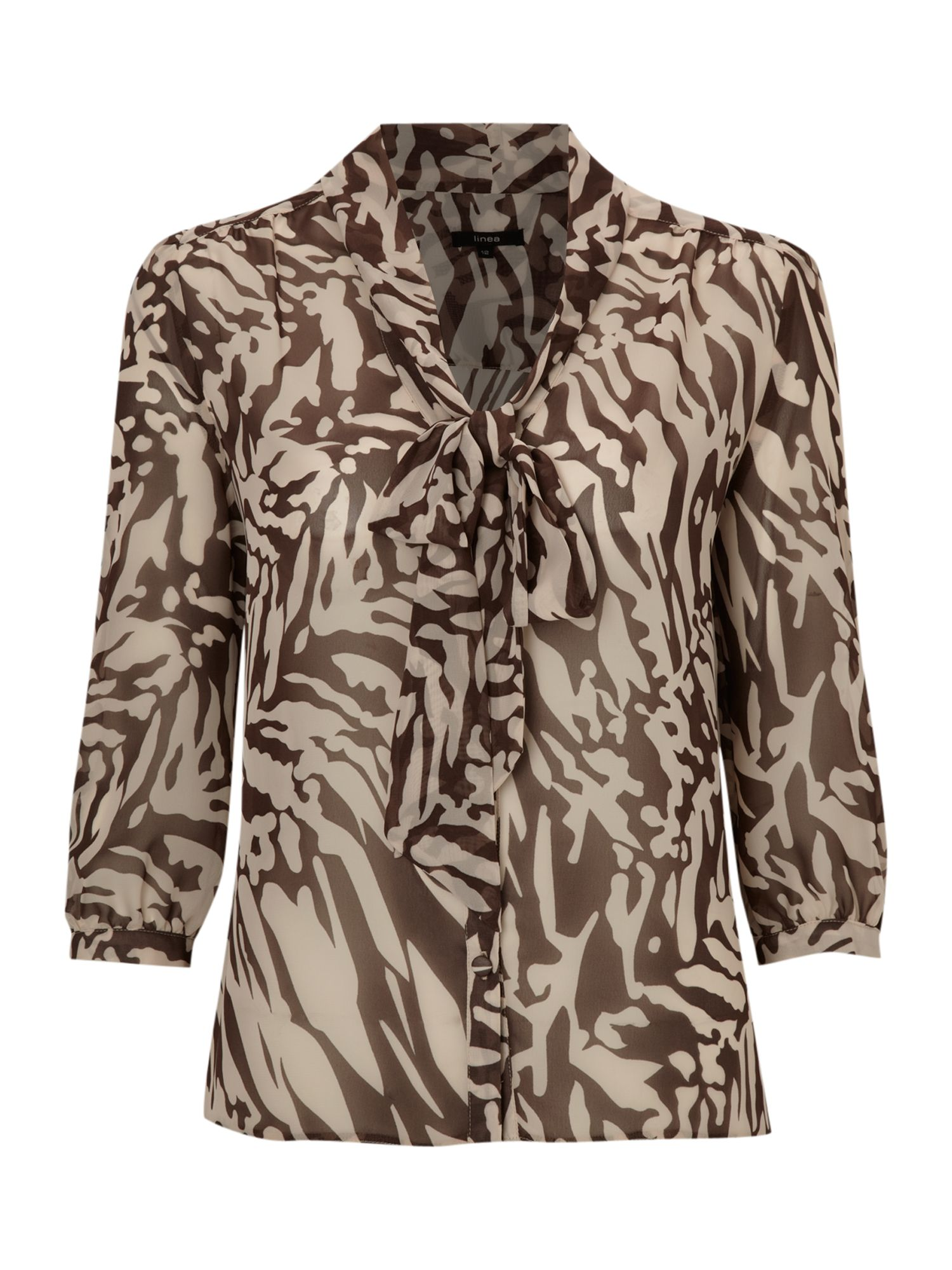 Linea Womens Linea Animal print pussy bow blouse, product image