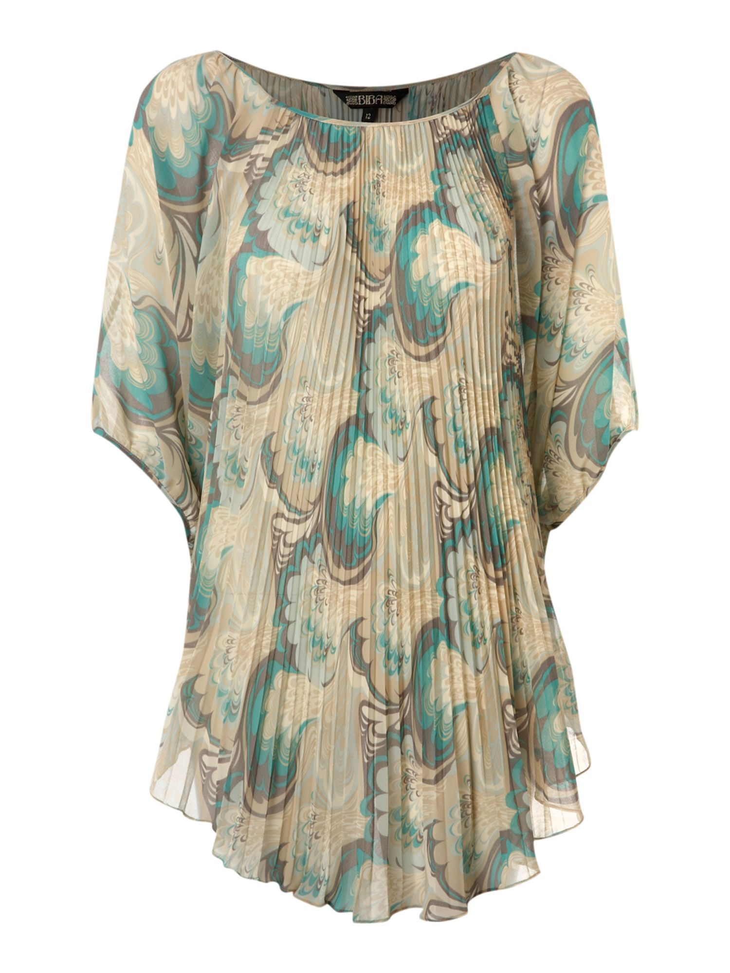 Womens Biba Printed pleated volume blouse,