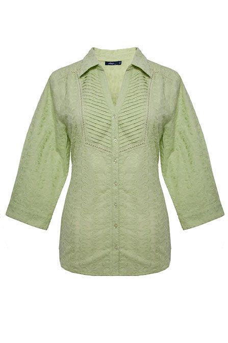 Womens Dash Green embroidery blouse, Light