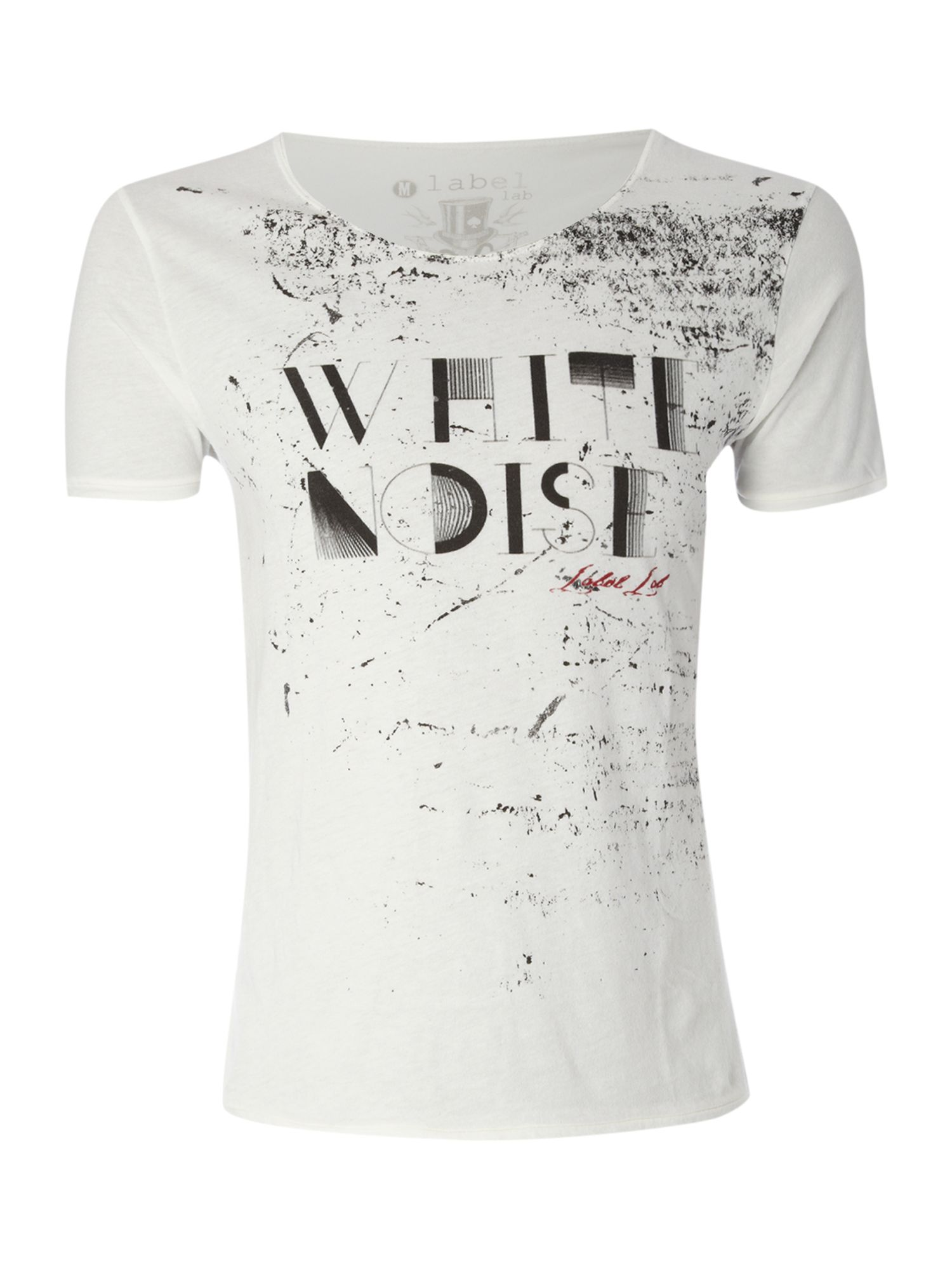Label Lab Mens Label Lab White noise graphic T-shirt, product image