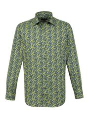 Alexandre Savile Row Lime rose print slim fit shirt