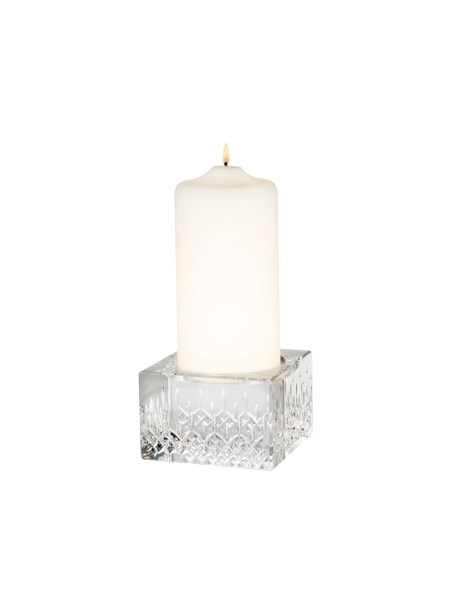 Lismore  pillar candleholder with candle