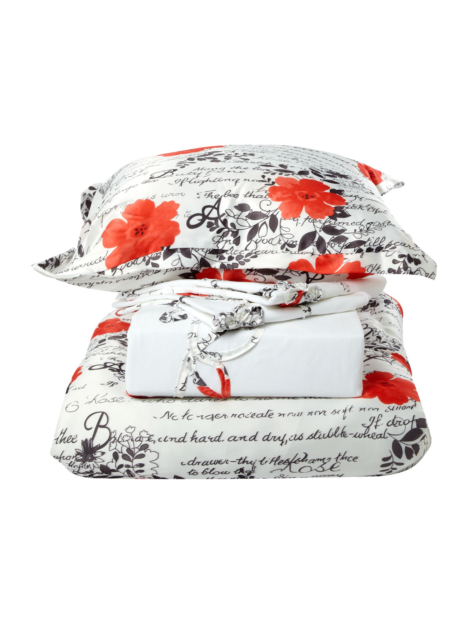 Ribbon floral bed in a bag double in coral