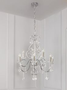 Isabella 9lt glass chandelier