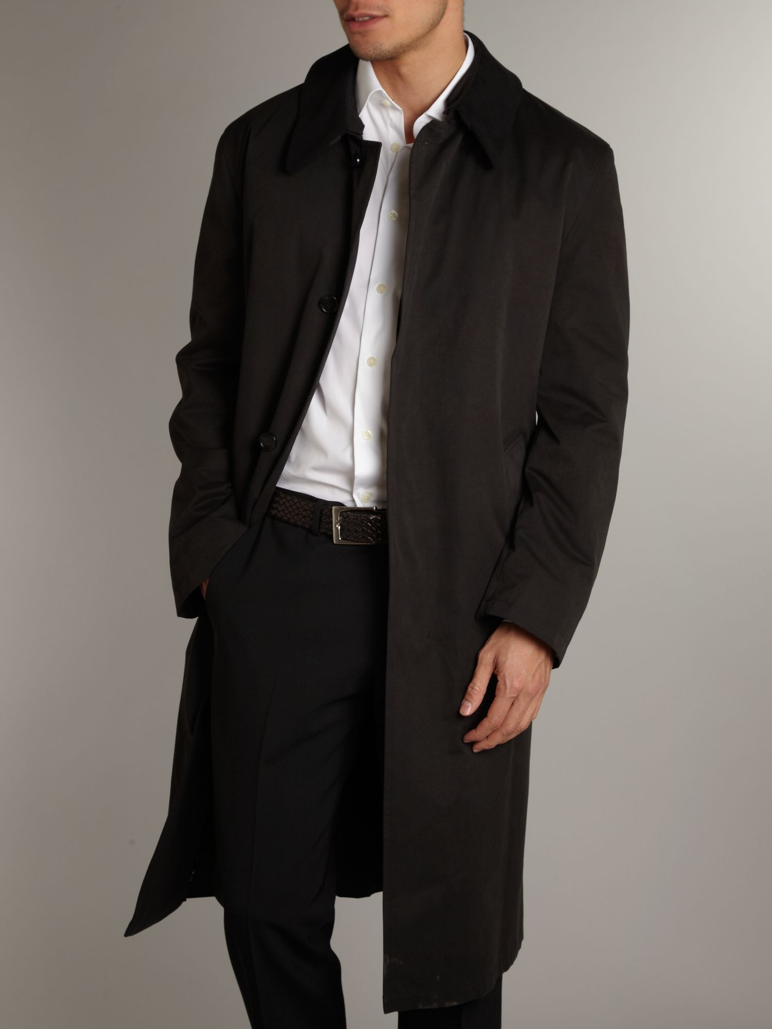Long trench coat with detachable collar