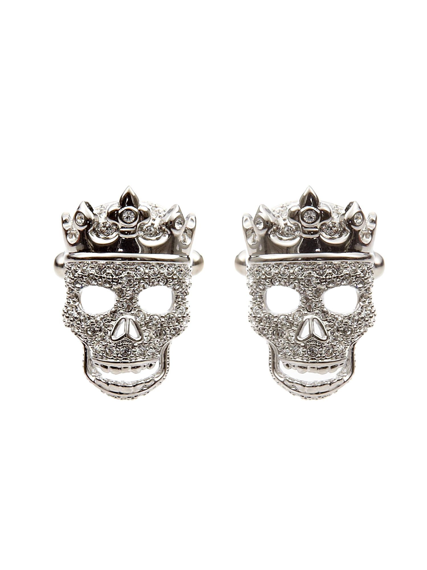 Simon Carter Crowned skull cufflinks, Silver product image