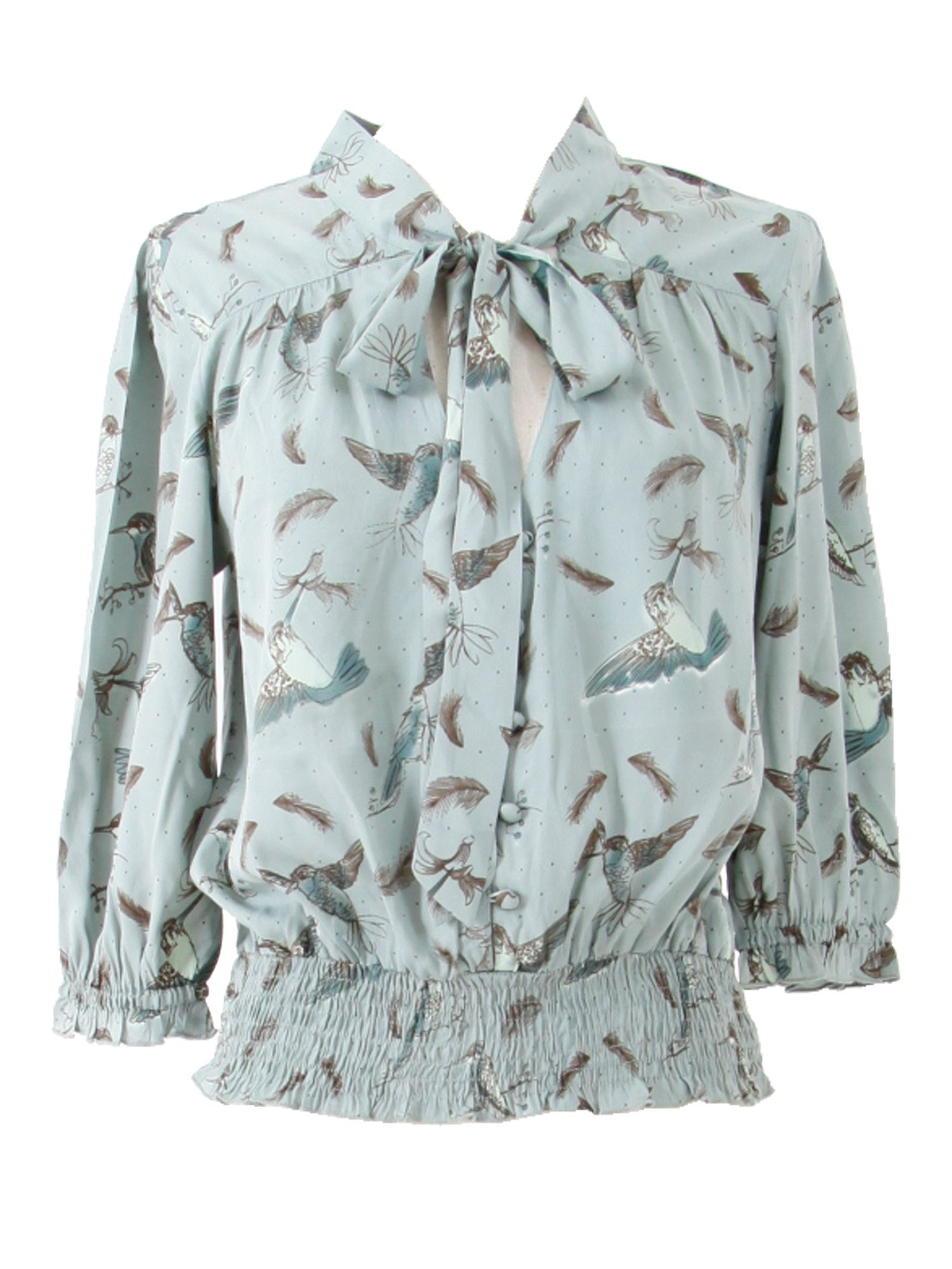 Womens Yumi Hummingbird print blouse, Blue