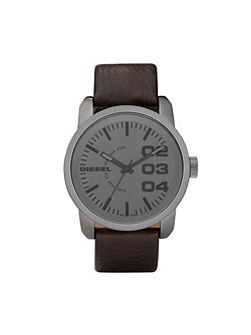 DZ1467 Double down brown leather men`s watch