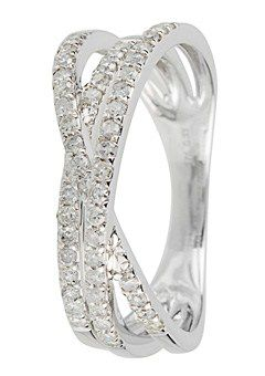 Goldsmiths 9ct Gold 0.34ct Diamond set Cross Over Ring, Silver