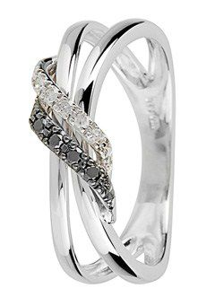 Goldsmiths 9ct Gold, Black and White Diamond Ring, Silver