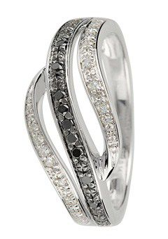 Goldsmiths 9ct Gold Black and White Diamond Wave Ring, Silver