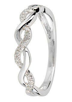 Goldsmiths 9ct Gold Diamond set Twist Ring, Silver