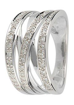 Goldsmiths 9ct Gold 0.20ct Diamond set Cross Over Ring, Silver