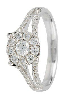 Goldsmiths 18ct Gold 0.60ct Split Diamond set Ring, Silver
