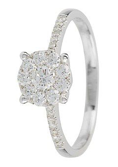 Goldsmiths 18ct Gold 0.40ct Diamond set Shoulders Ring, Silver