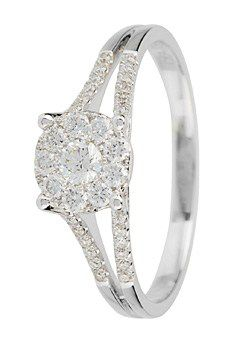 Goldsmiths 18ct Gold 0.40ct Split Diamond set Shoulders Ring, Silver