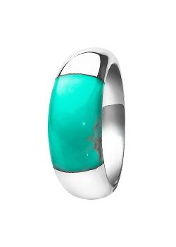 Goldsmiths Silver and Turquoise Small Dome Ring, Silver