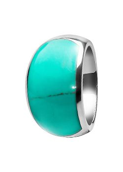 Goldsmiths Silver and Turquoise Large Dome Ring, Silver