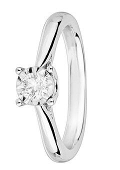 Goldsmiths 9ct Gold 0.25ct Brilliant Cut Diamond Ring, Silver