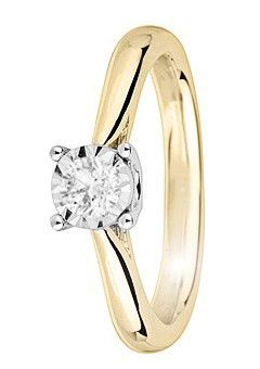 Goldsmiths 9ct Gold 0.33ct Brilliant Cut Diamond Ring, Silver
