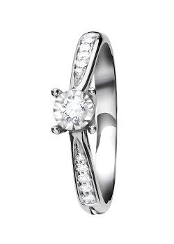 Goldsmiths 9ct Gold 0.19ct Brilliant Cut Diamond Ring, Silver