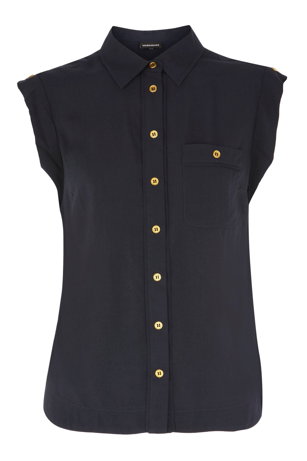 Warehouse Womens Warehouse Roll-sleeve blouse, Navy product image