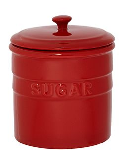 Maison sugar jar, red
