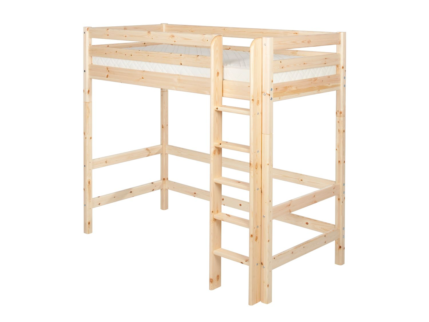 Single high bed with straight ladder
