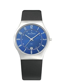Skagen 233XXLSLN Classic Black Leather Mens Watch
