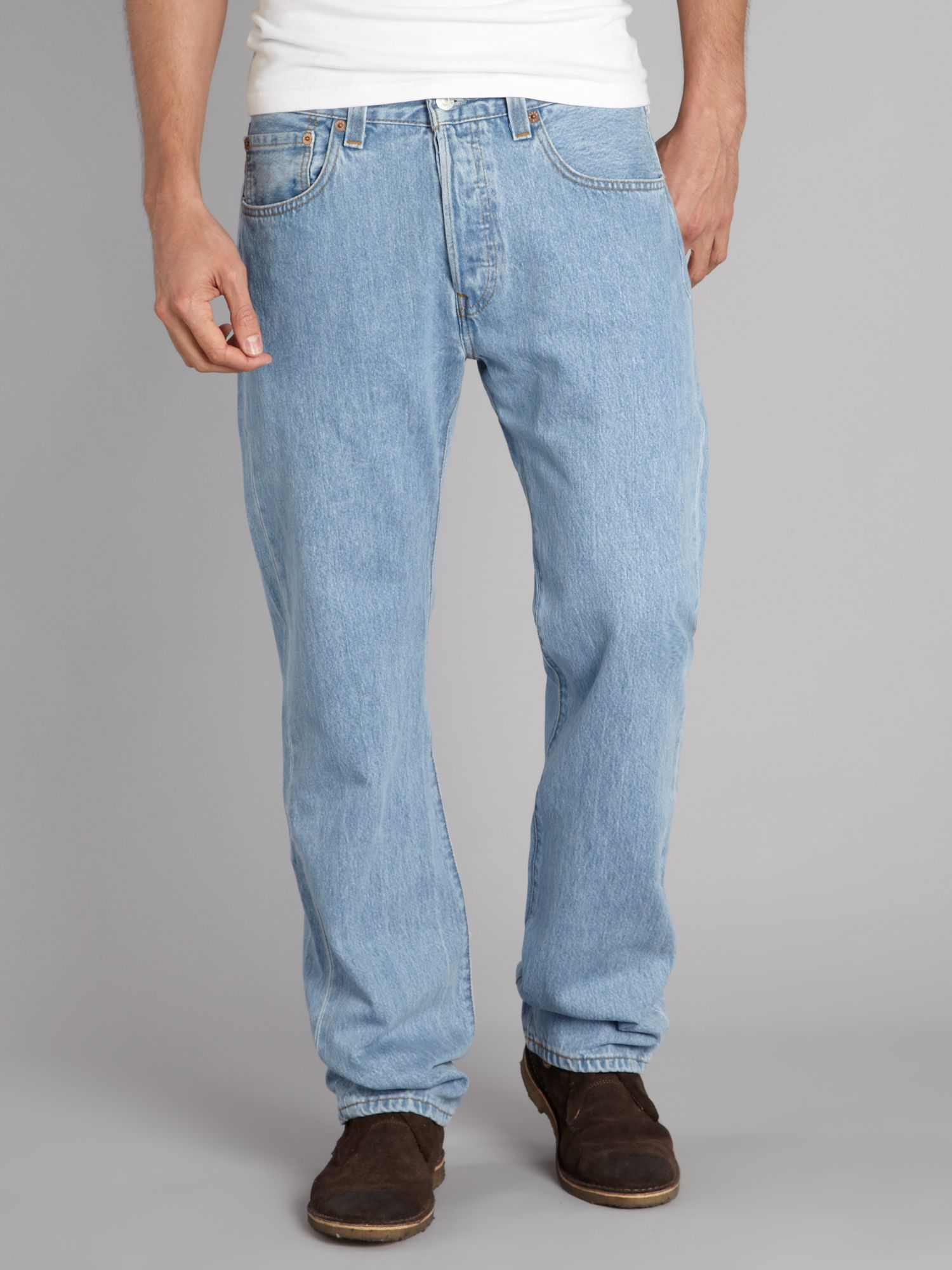 501 straight fit light wash jeans