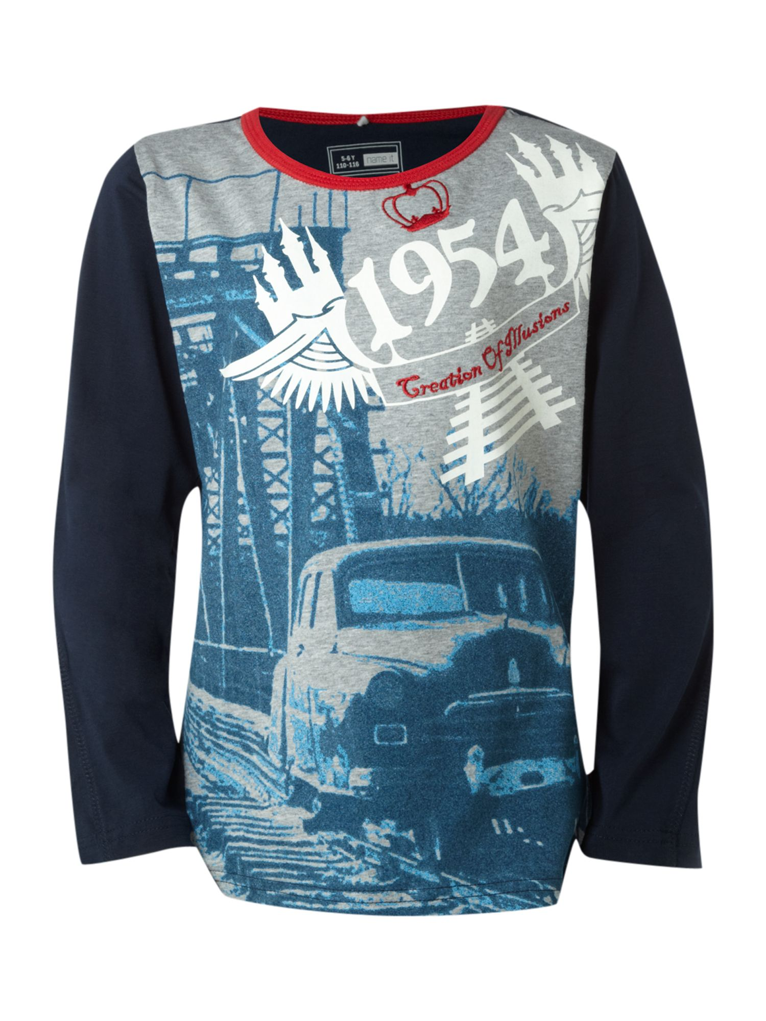 name it Long-sleeved 1954 printed T-shirt, Navy product image