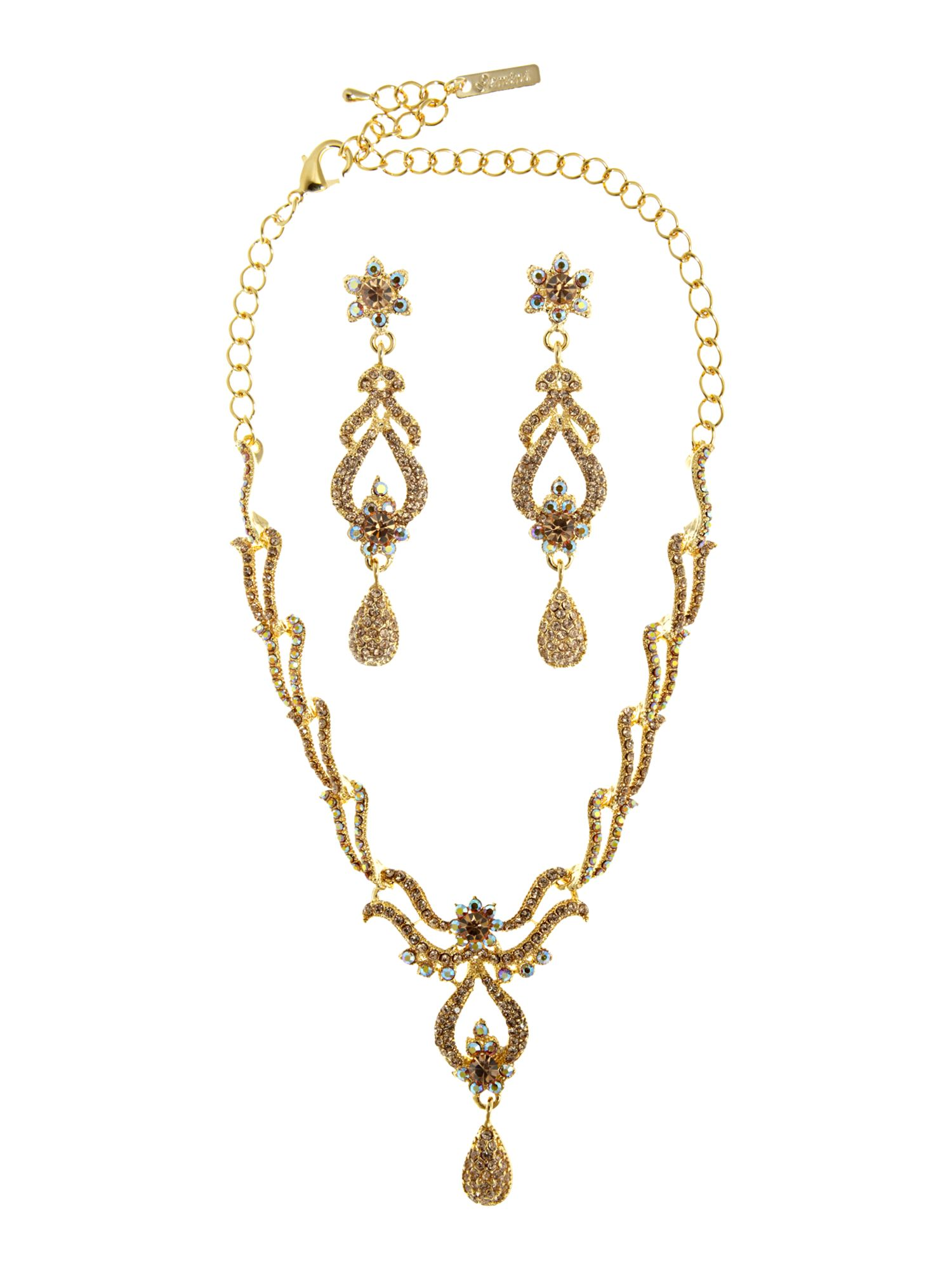 Gemini Vintage necklace set with swarovski crystals