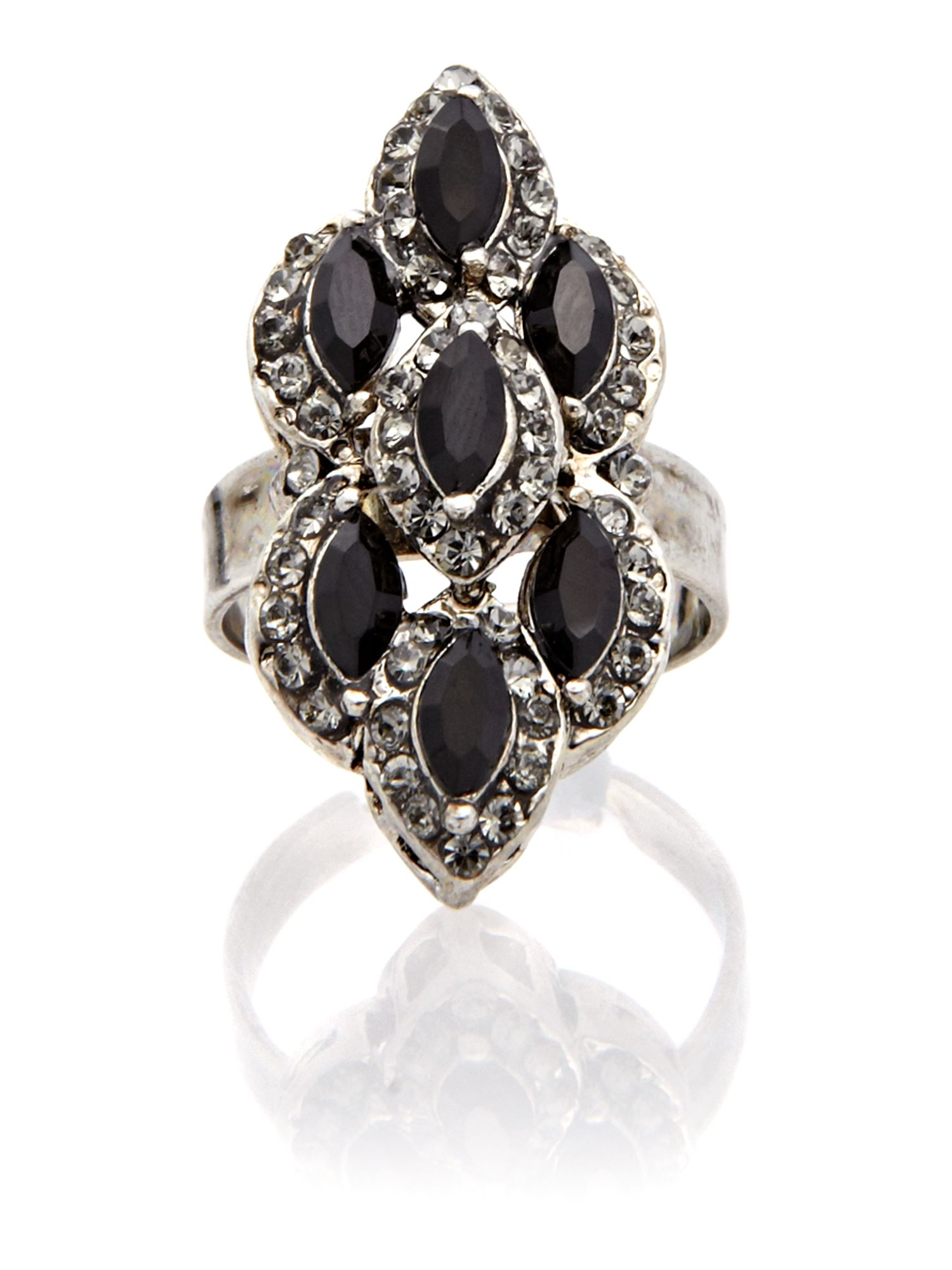 Gemini Black ring with swarovski crystals